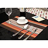 KAIL Non-slip Placemats Washable Heat Insulation PVC Weave Placemats Kitchen Dining Room Table Mats(6 set)
