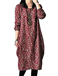 YJWAN Women Autumn Floral Cotton linen Long Sleeves Oversized Blouse Tunic Dress
