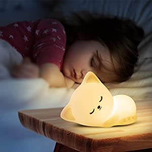 Kitty Night Light Cute Lamp with Tap Control - Cat Nursery Night Light for Kids Baby Toddles Girls' Rooms Christmas Gifts Birthday Gift