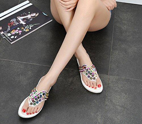Perlé Tongs Plat Femmes DANDANJIE 41 Talon Blanc 35 Pantoufles Summer Mode Clip Brodé Beach Noir de Sandales Blanc Toe Style Ethnique CYqgqS5wx