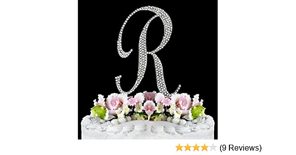 ffad7f9f7befe5 Amazon.com  Completely Covered Swarovski Crystal Silver Wedding Cake  Toppers ~ LARGE Monogram Letter R by RaeBella Weddings   Events New York   Kitchen   ...