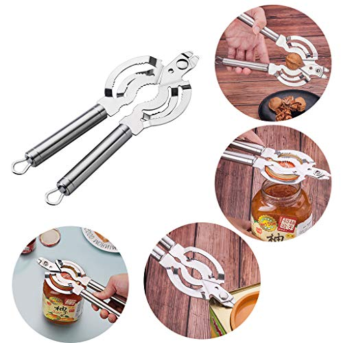 (Tpingfe Multifunction Jar Opener 304 Stainless Steel Handy Screw Cap Multi-Purpose Can Bottle Lid Grip Wrench)