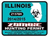 ILLINOIS Zombie Hunting Permit 2014/2015 Car Decal / Sticker