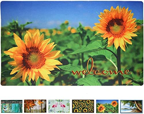 Rubber Welcome Door Mat, Decorative Indoor Outdoor Doormat Non Slip Front Door Mat, Easy to Clean Low Profile Mat for Entry Patio Garage High Traffic Areas, 17.3 x 29 Sunflower Welcome