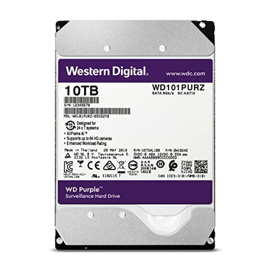 """WD Purple 10TB Surveillance Hard Drive - 7200 RPM Class, SATA 6 Gb/s, 256 MB Cache, 3.5"""" - WD101PURZ 51La4SVvyML. SS555"""