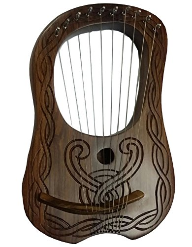 Lyre Harp - Caja de madera de Sheesham con 10 cuerdas de metal, grabado a mano H S