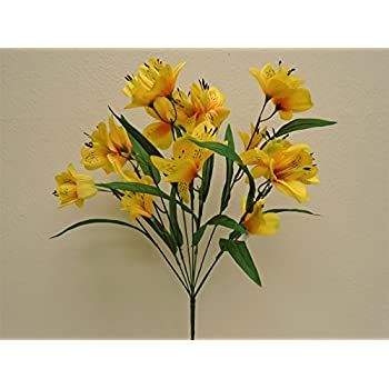Amazon phoenix silk yellow green tip alstroemeria bush phoenix silk yellow green tip alstroemeria bush artificial silk flowers 20 bouquet 10 5326yl mightylinksfo