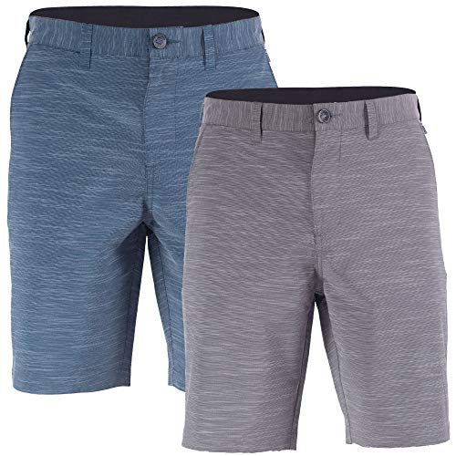 Visive 2 Pack Mens Hybrid Golf Board Shorts Quick Dry Stretch Casual Walk Short Navy/Grey - 36