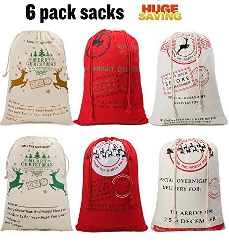 Huge Saving-Christmas Canvas Sacks Bags for Kids Christmas Gift Basket Christmas Tote Santa Claus 19.7