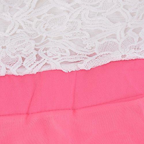 Merletto Sundress Estate Bonboho Modo Rosa Chiffon Brillante Vestito Sexy Donne Lunghi Di 0qXXaxntwH