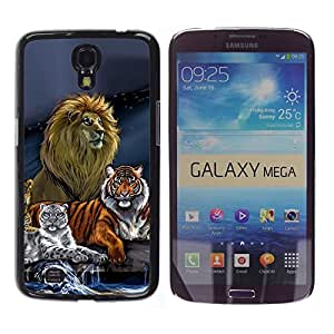 Impact Case Cover with Art Pattern Designs FOR Samsung Galaxy Mega 6.3 Lion Tiger Painting Art Drawing Blue Betty shop
