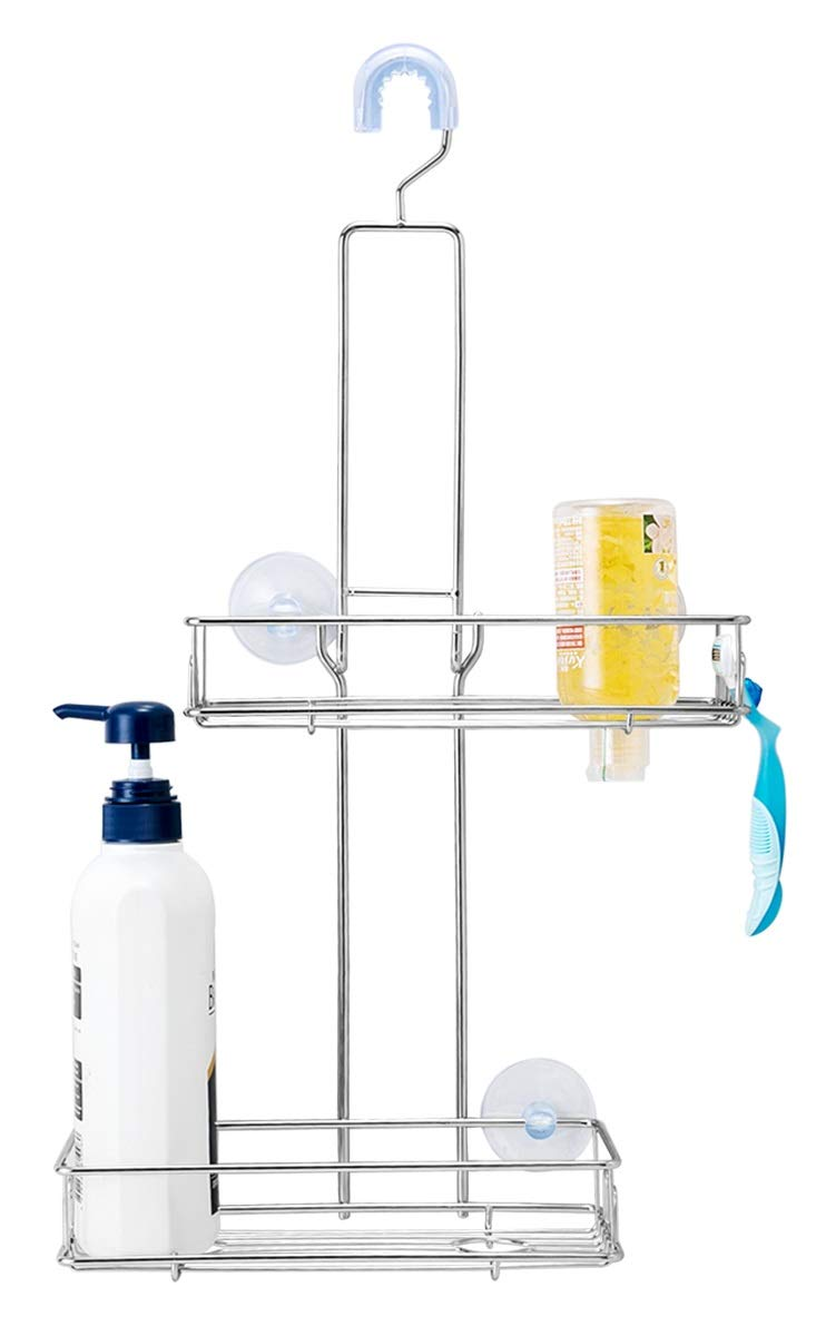 BRIOFOX Shower Caddy, Never Rust 304 Stainless Steel + Durable and Sturdy Large Basket + Shining and Smooth Like Mirrors, Hanging Bathroom Caddy Organizer Storage