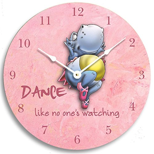 Children's wall clock. Dancing hippo on a pink background. Girl's clock. Pink clock. Dance clock. Girl's room decor. 10 inch wall clock.