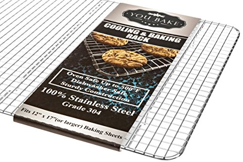 "You Bake Stainless Steel Cooling Rack - Made for 12""x 17"" Baking Sheets and Pans - Oven and Dishwasher Safe. Also..."