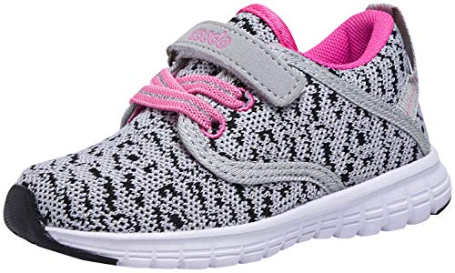 COODO Toddler Kid's Sneakers Boys Girls Cute Casual Running Shoes (12 Little Kid,Grey)]()