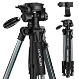 K&F Concept 56''Compact Lightweight Travel Portable Camera Tripod with Phone Mount Holder for Cell Phone DSLR