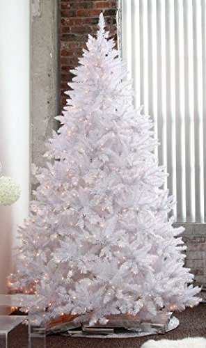 7 pre lit sparkling white christmas tree with led light and metal stand - Amazon White Christmas Tree