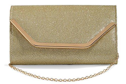 Women Envelope Clutch Party Purse Glitter Mesh Evening Handbag With Chain Strap (beige, (Gold Mesh Evening Bag)