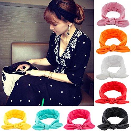 Yeshan Women and Girls Elastic Rabbit Bow Hairband/Bandana/Turban/Head wrap/Knotted Yoga Headband,pack of 8
