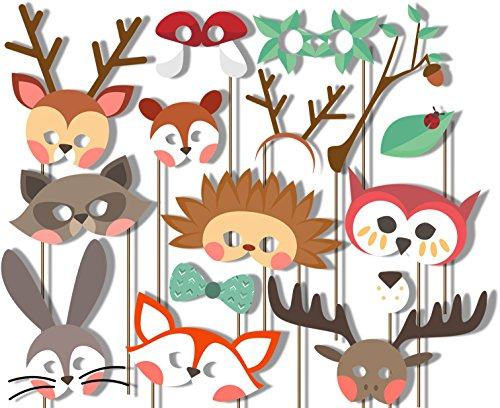 Woodland Animals Photo Booth Props Kit - 20 Pack Party Camera Props Fully Assembled]()