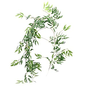 "66.9"" Artificial Willow Leaves Vines Twigs Fake Silk Willow Plant Leaves Hanging Ivy Garland String Green for Home Decor Indoor Wedding Door Arch Garden Decoration 21"
