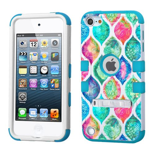 (PHONETATOOS iPod Touch 5th 6th Generation Case - Hard Shell Case Compatible with Apple - Shockproof Hybrid 5/6 Cover With Stand For Boys And Girls (Colorful Paisley Patern))