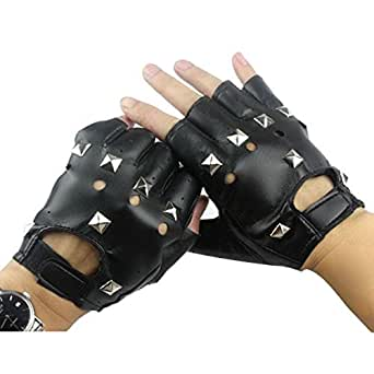 Mens Punk Rock Fingerless Gloves Rivets Studded PU Leather Cosplay Costume Party Black Small