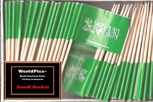 One Box Saudi Arabia Toothpick Flags, 100 Small Mini Saudi Arabian Flag Cupcake Toothpicks or Cocktail Picks