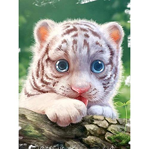 - Jiahuade DIY Diamond Drawing Young Tiger with Blue Eyes Embroidery Decoration Diamond Cross Stitch Mosaic Painting,50X60Cm