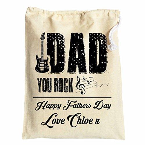 Large personalizzati, sacchetto regalo per papà on FATHER' S DAY Dad you Rock 30cm x 40cm