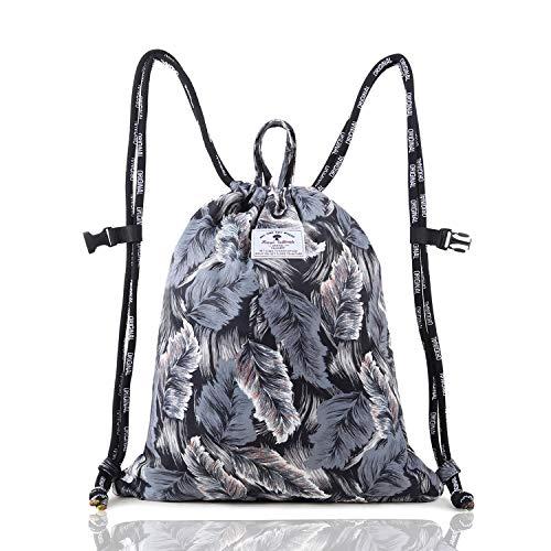 Drawstring Backpack Original Tote Bags for Gym Hiking Travel Beach 2 Sizes ([V] L Size - Flower Leaf Soft String)