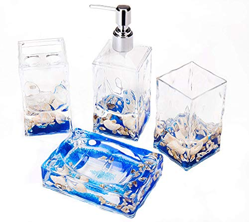 Yeti Decor 4 Piece Acrylic Liquid 3D Floating Motion Bathroom Vanity Accessory Set (Blue Soap Dispenser)