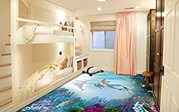 3D Dekor Boden Vinyl PVC Belag Teppich Aufkleber Fliesen Wand Kunst Bild  Live Lebendige Kinder Zimmer