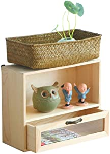 XHCP Counter Top Bookcase with Drawer, Desktop Bookshelf Storage Shelf Organizer with Natural Wood Grain for Office Suppl.