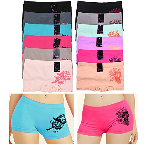 6 Sexy Seamless Boyshort Panties Women Underwear Briefs Boy Shorts One Size (Fit Boyshort)
