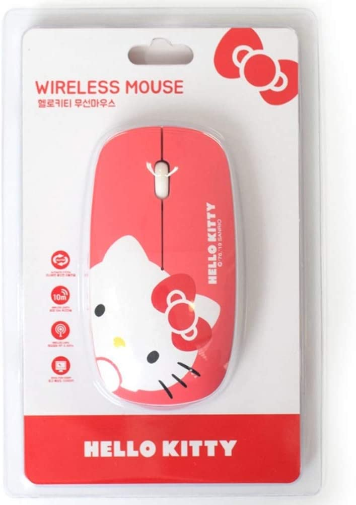 White, Ribbon 1,000 DPI for PC and Mac Hello Kitty Mouse HK-M071 with USB Wired