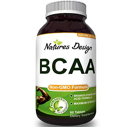 BCAA Pills Pure Concentrated Essential Amino Acids Muscle Recovery + Repair Build Muscle Best Lean Gains Supplements Women + Men – 3000 mg Dosage – by Natures Design