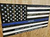 Wooden Rustic-Style Thin Blue Line American Flag w/ Blessed are the Peacemakers Verse (Script font, 19''x37'')