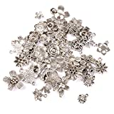 50pcs Flowers Charms Pendant Beads Jewellery Making Silver