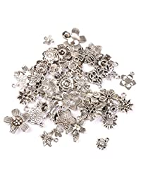Dovewill 50 Pieces Vintage Tibetan Silver Flowers Charms Pendant Beads Jewellery Making DIY Findings Crafts