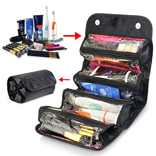 Zodaca Roll-Up Travel Organizer 4 section Clear Storage Compartment Zippered Pouch Toiletries Kit Makeup Cosmetic Bag, Multifunction Foldable Large Capacity, Black