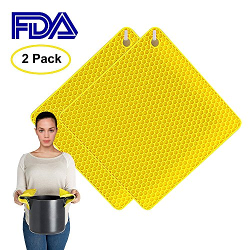Silicone Jar Mat Opener (Samshow 4-in-1 Silicone Pot Holders,Trivet Mat,Jar Opener,Spoon rest,Flexible & Durable,Heat Resistant Mat Square Honeycomb Pattern Set of 2(yellow))