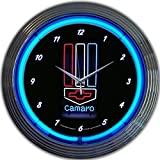 camaro clock neon - GM Camaro Red White Blue Genuine Electric Neon 15 Inch Wall Clock Glass Face Chrome Finish USA Warranty