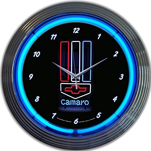 Clock Camaro Neon (GM Camaro Red White Blue Genuine Electric Neon 15 Inch Wall Clock Glass Face Chrome Finish USA Warranty)