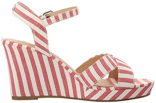 Nautica Women's Longshore Wedge Sandal Red Thick Stripe AM3yK