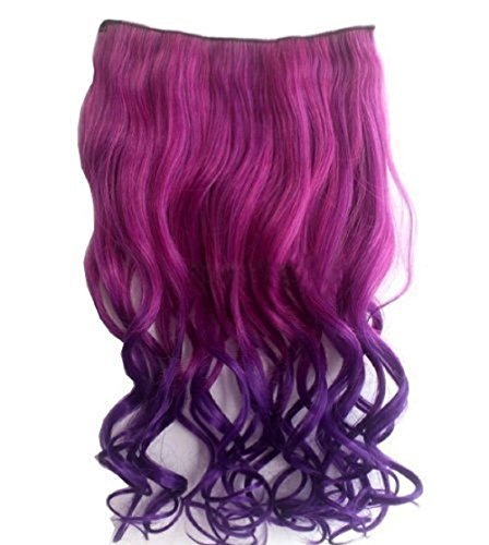 Hair Extensions Pieces Wig Idealgo Fashion Full Head Curly Wave 5 Clips Hairpieces for Women (Hot Pink(ROSE) to Dark (80's Halloween Costume Diy)