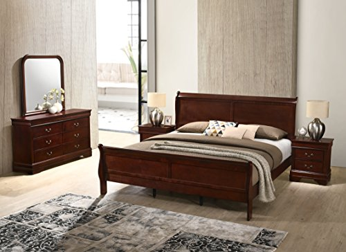 Roundhill Furniture Isola 5-Piece Louis Philippe Style Sleigh Bedroom Set, Queen Bed, Dresser Mirror and 2 Night Stands, Cherry Finish