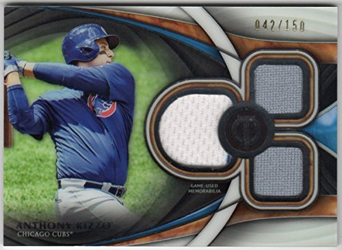 (Anthony Rizzo 2018 Topps Tribute Triple Jersey Card Serial #042/150 Chicago Cubs)