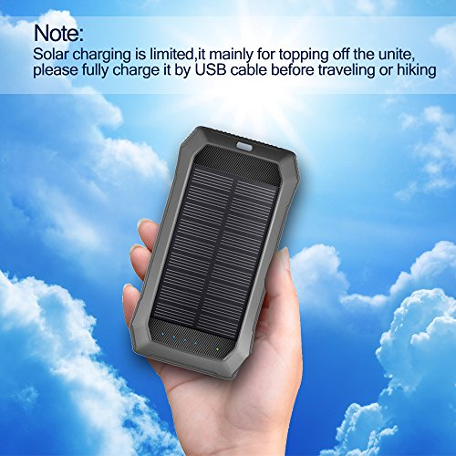 Solar Charger with Strong LED Flashlight, 10000mAh Solar Phone Charger with Dual USB Port, Outdoor Portable Solar Power Bank Built-in Strong 52LED Flashlight for Camping, Travelling & other Activities by URWILL (Image #7)