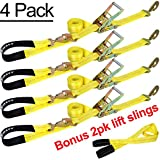 Trekassy 4 Pack 9.5' x 2'' Axle Tie Downs System Include 4 Ratchet Straps with Snap Hooks and 4 Axle Straps Bonus 2 Lift Sling Straps
